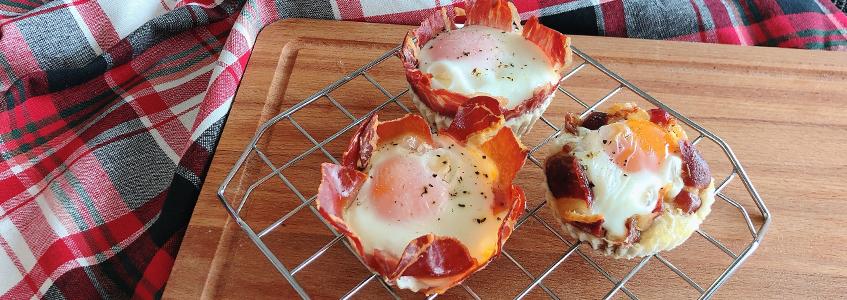 Cesto de ovo em presunto (6 porções)
